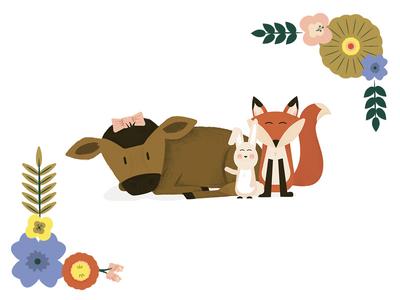 Woodland Babies invite illustration illustration fox animals woodland animals baby shower