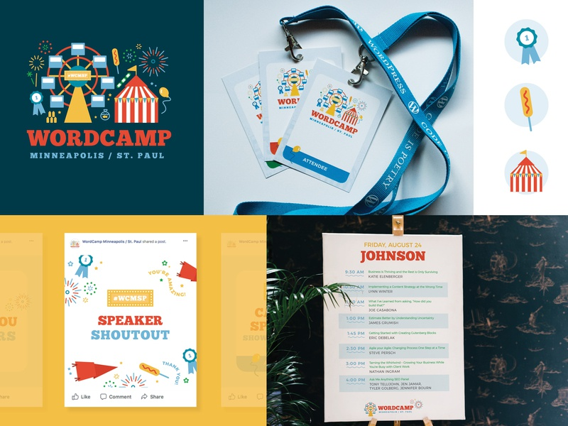 WordCamp Minneapolis Collateral circus state fair event branding signage illustration branding wordcamp