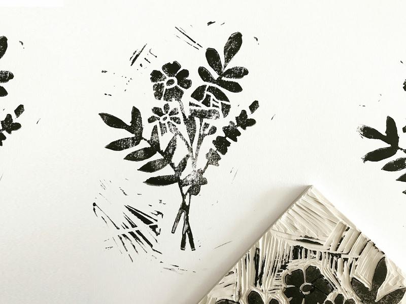 Flowers for you. lino floral botanical illustration linocut