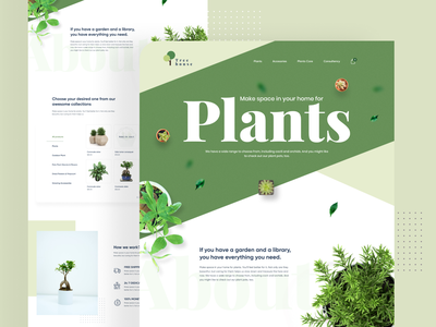 Plants Landing Page branding illustration ui design