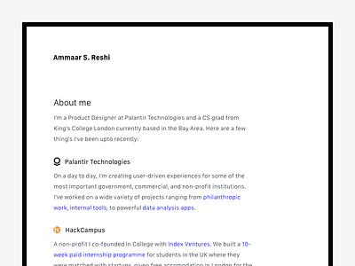 ammaar.me — Website Update redesign portfolio personal dark typography about clean web design minimal website