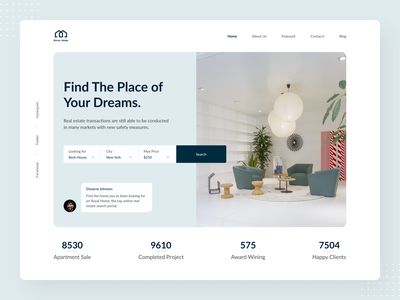 Royal Home Real Estate Landing Page visual design creative design ux ui branding business home housing