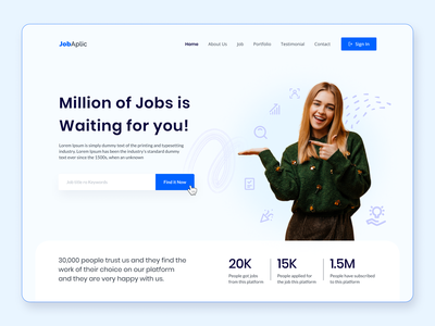JobAplic : Job Finding Website Hero Section ecommerce brand design website design web simple ux uiux design ux design ui design job hero image hero section hero concept minimal clean creative design visual design ui