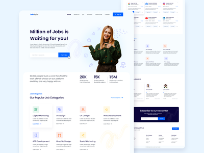 JobAplic : Job Finding Website Landing Page! interaction design web design website design ecommerce ux ux design creative concept design simple clean minimal job application website job application platform job finding website job finding platform job finder job ui design ui