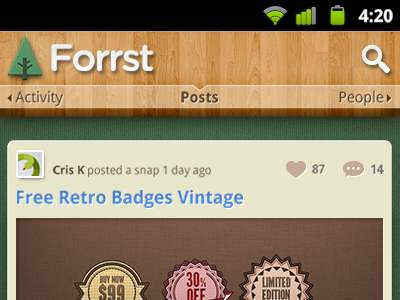 Forrst App Home forrst android app concept icon ui swipe view