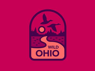Wild Ohio Badge birds red sunset wildlife landscape flat illustration ducks badge ohio