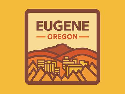 Eugene Oregon lane county trees hills warm colors landscape badge oregon eugene