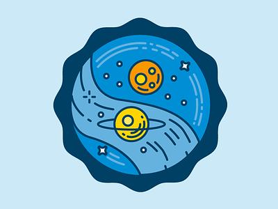 Astronomy mars saturn milky way space badge badge stars planets sky sensing astronomy