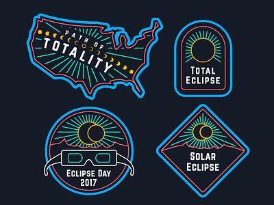 Eclipse Day Badges illustration badges total eclipse path of totality eclipse 2017 solar eclipse eclipse ui geo location ux badgr
