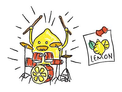 Lemon on the Drums illustration drummer drum kit thumb tack poster lemon juice sauce drums lemon