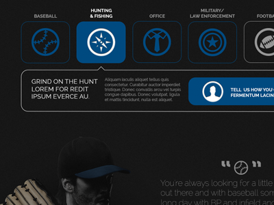 Grinds Website sports baseball icons navigation quotation website