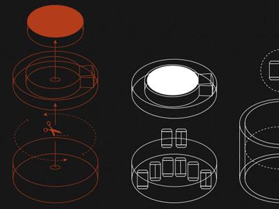 Grinds Website Preview #2 infographic 3d website dark diagram navigation coffee mug