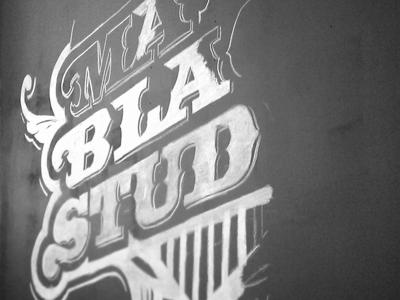 Matte Black Studios Mural WIP #1 work in progress matte black studios wip typography seal mural chalk vector