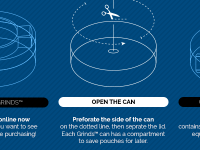 Grinds Website Preview #3 dark navigation website 3d coffee diagram infographic blueprint