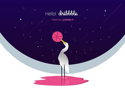Hello Dribbble entry ui shots design debute thank you modern reflection blue sky hello dribble dribbble bird illuatration bright coloful