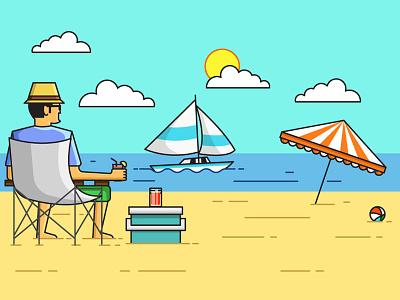 Beach View designer beachview sunnyday landscape illustration design icondesign beach