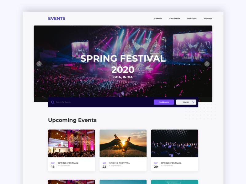 Events Website: Spring Festival design dribbble meetup dailyui landing page illustration ux dribbble mobile ui user interface ui