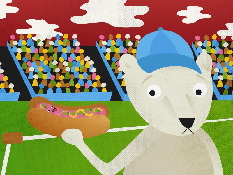 Hot Dog illustration hot dog baseball stadium bear