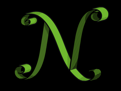 Letter N hand lettering vector n lettering green curly drop cap