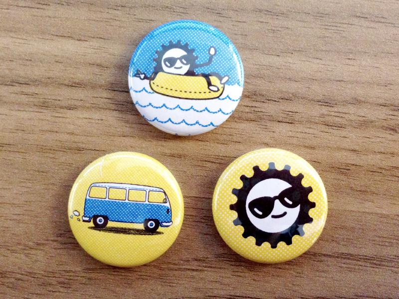 Pins buttons pins van tubing sun illustration