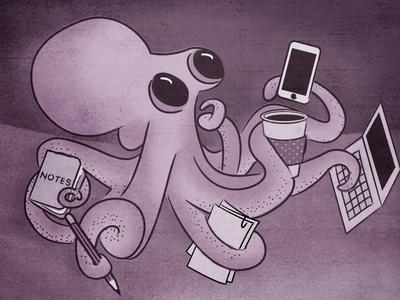 Next Level Project Management illustration cognition octopus busy purple