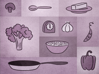 The Belly Rules The Mind illustration cognition food cooking broccoli peas noodles purple