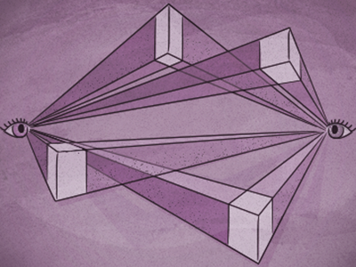 Switching it up purple perspective two-point perspective eyes cognition illustration