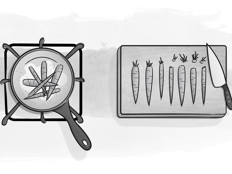 A List Apart Illustration gray stove range knife cutting board monochromatic ink wash carrots cooking illustration black and white