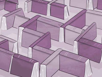 My Shelf, My Self cognition purple spines maze book books illustration