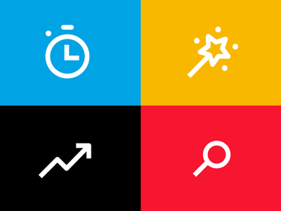 Icon set scraps search arrow wand stopwatch icons