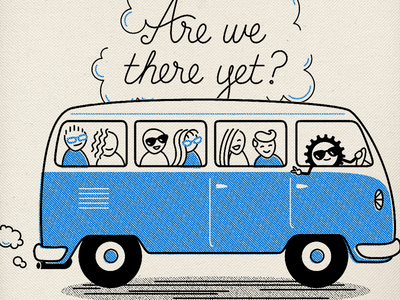 Are we there yet? Tote canvas tote people bus vw bus lettering monoline two-color tote bag illustration