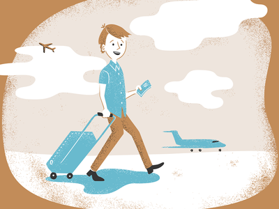 Conference illustration clouds brown suitcase planes grainy conference illustration