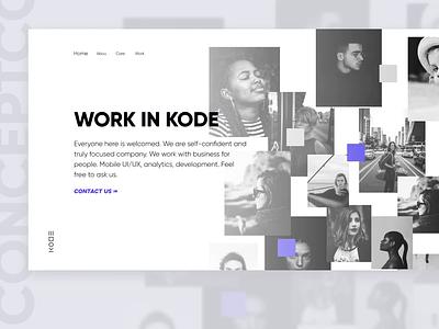 KODE HR Landing Page Concept web flat black typography identity ux ui branding minimal design