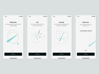 Hugo Onboarding brand typography identity mobile ios guide onboarding furniture malevich art black ux ui branding minimal design