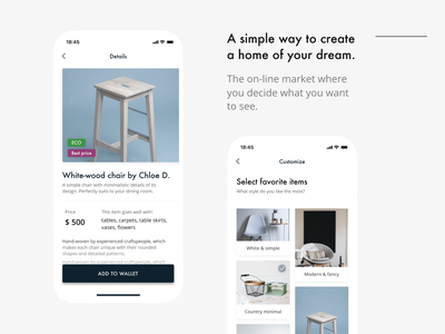 Furniture App design concept design minimal app ui ios ux typography mobile white black futura