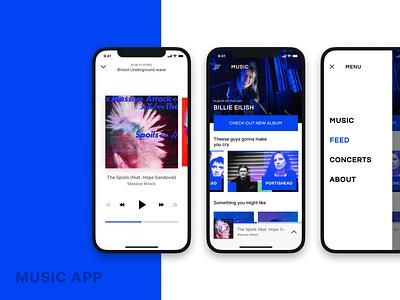 Music application Concept design minimal branding app ios mobile ui ux flat typography black blue brand music music app spotify player music app ui