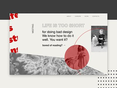 Web Agency Concept construct portfolio photo type website web brand black typography flat ux ui identity branding minimal design