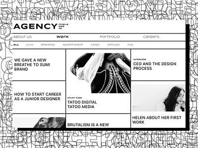 Agency Web site Concept landing trand concept agency brutalism web brand flat typography identity ui ux branding minimal design