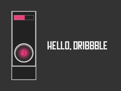 Hello Dribbble hal dribbble robot debut illustration