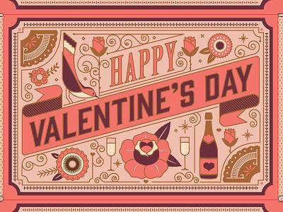 Valentines Telegramme flowers ornate vector lines valentines love birds type