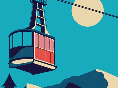 Cable Car cable car scene landscape mountain travel poster vector