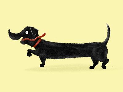 Turbo dog furry dachshund funny sausage illustration dog