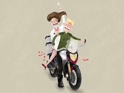 Lovebirds on a motorbike motorbike riding girlfriend couple boyfriend nurse love