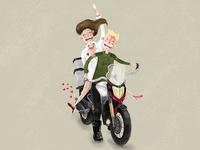 Lovebirds on a motorbike