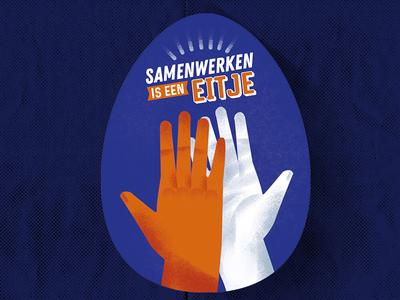 Samenwerken Is Een Eitje shake clap hands hi5 hi easteregg egg teamwork