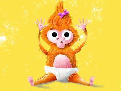 Baby Monkey hooray newborn diaper jungle orangutan monkey girl baby illustration