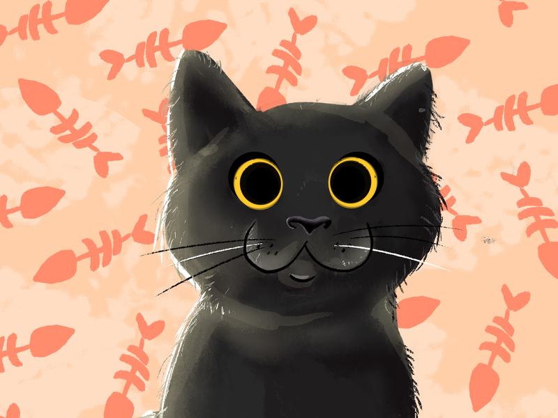 Coco the Kitten cat illustration cute. black cat illustration kitten