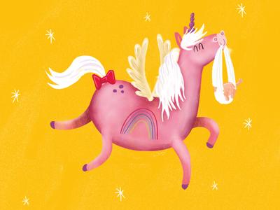Unicorn sketch flying wings drawing deisgn rainbow pink illustration horse unicorn