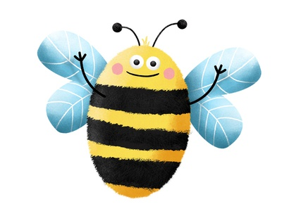 Bee sketch drawing cute comic characer nature plant bee illustration
