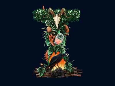 Illustrated Logo plants i identity head skeleton sheep wood fire raven animals initial logo illustration branding